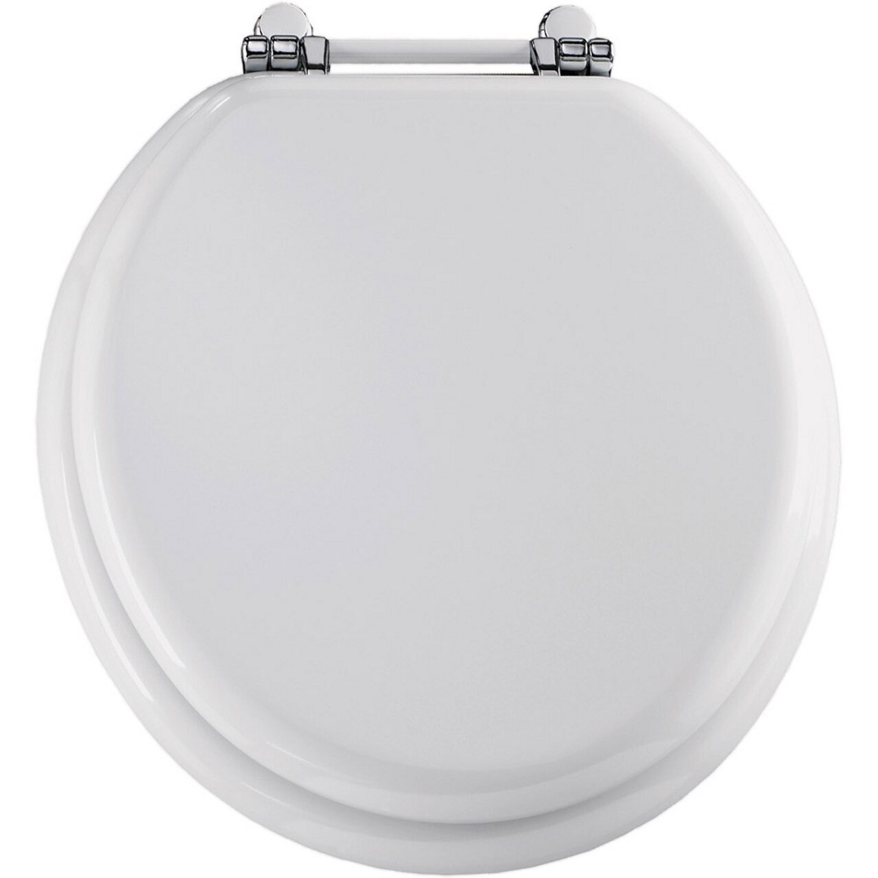 wooden white toilet seat.  ROUND WOOD NICKEL TOILET SEAT